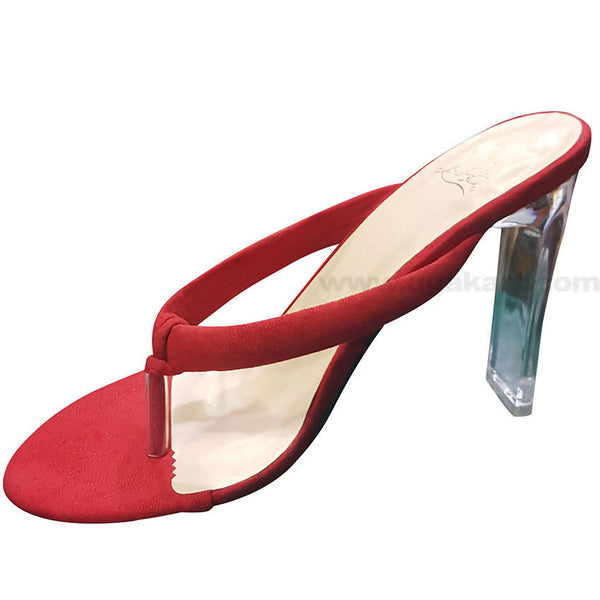 Red Designed High Heels Sandal With For Women