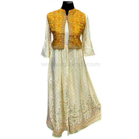 Cream Green Long Dress For Womens