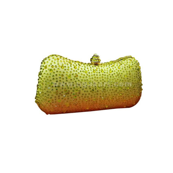 Ladies Pillow Shaped Party Clutch Bag  - Lemon Green