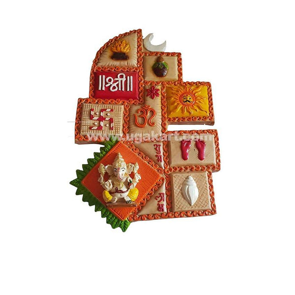 Wall Decor Ganpati -Orange     5Pc