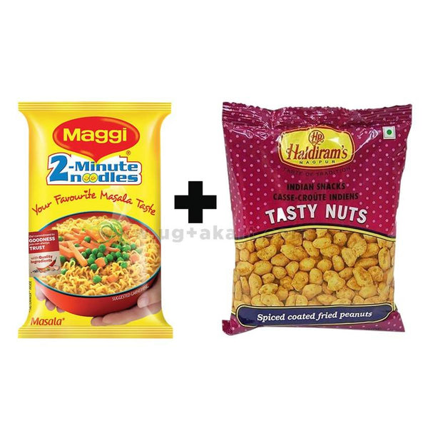Maggi Masala 140 gm (1 Packet) + Haldiram's Tasty Nuts 150 gm (1 Packet)