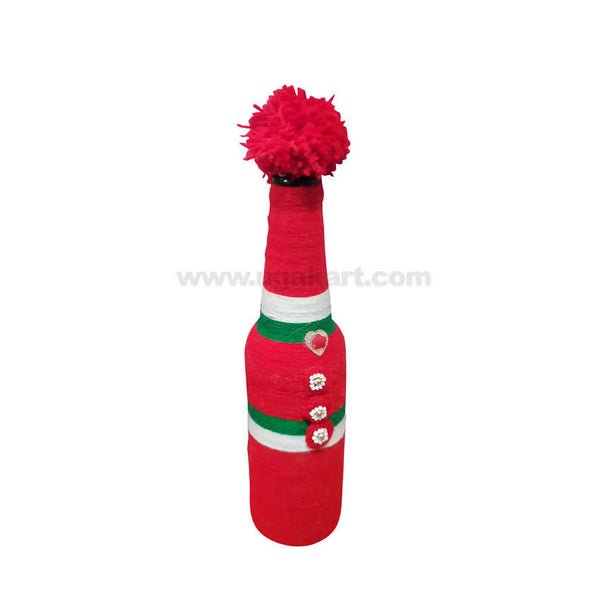 Decoration Hand Made Bottle With Flowers Big-Red