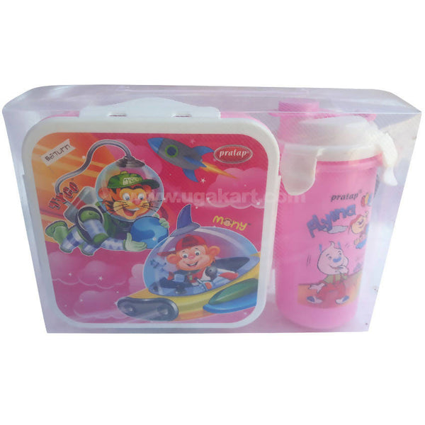 Pratap Pink Lunch Box With Water Bottle Set Of 2