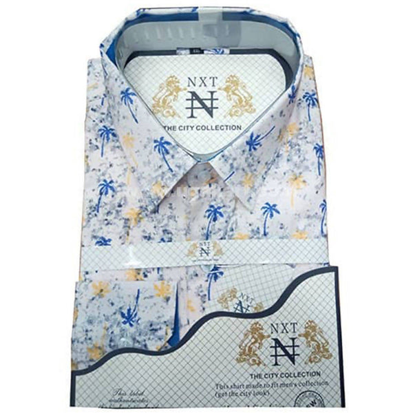 Mens Formal Long Sleeve Designer Shirt - White and Blue