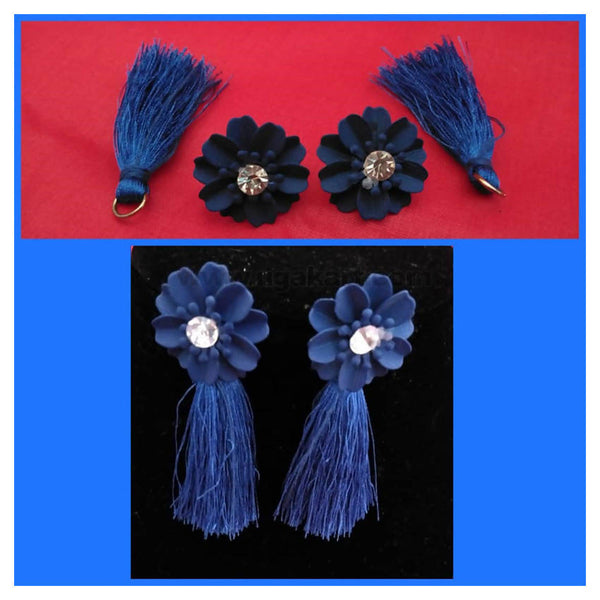 Blue Flowers And Thread Tails Earrings