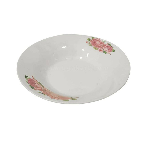Ceramic Soup Plate White And Pink Folral (8 Inches) 6Pcs