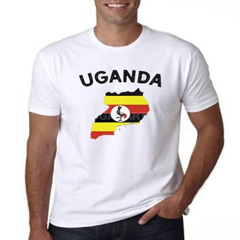 Map Of Uganda Flag Designed Men's T-Shirt - White