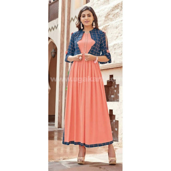 Reyon kurti with long size cut with bell sleeve jacket_XXL