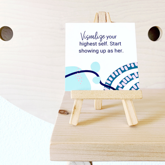 Affirmation Card Holder, --mini wood display easel