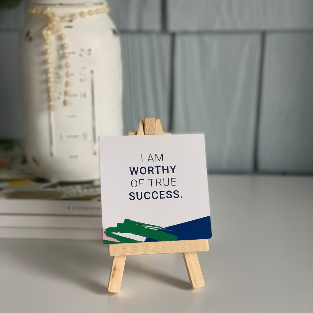 Affirmation Card Holder, add any set of cards to your cart and the easel will be marked down to $4.95 --mini wood display easel