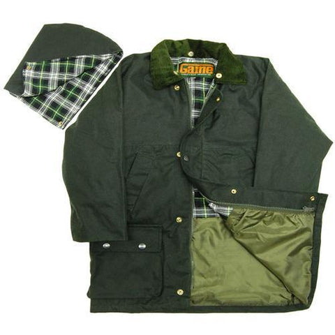 Game Kids Wax Jacket Olive