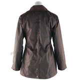 Game Ladies Antique Wax Jacket Brown Back