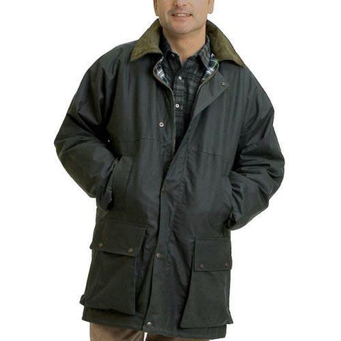 Game Mens British Padded Wax Jacket Olive Model