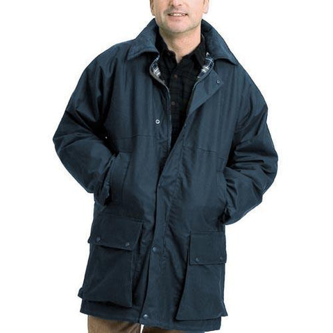 Game Mens British Padded Wax Jacket Navy Model