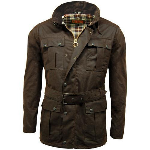 Game Mens Continental Motorcycle Wax Jacket Brown