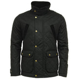 Game Oxford Quilted Wax Jacket Black Closed