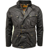 Game Mens Speedway Quiltex Wax Biker Jacket Black