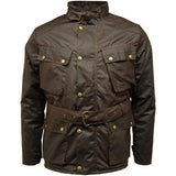 Game Mens Speedway Quiltex Wax Biker Jacket Brown Closed