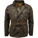 Game Mens Speedway Quiltex Wax Biker Jacket Brown