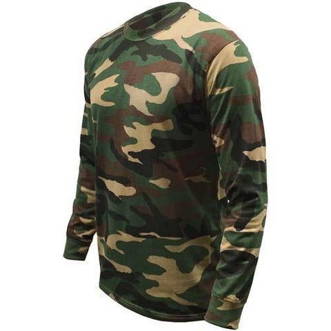 Mens Game Long Sleeve Camouflage Army Woodland Top Camo Hunting Shooting Fishing