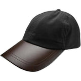 Leather Peak Wax Cap Black