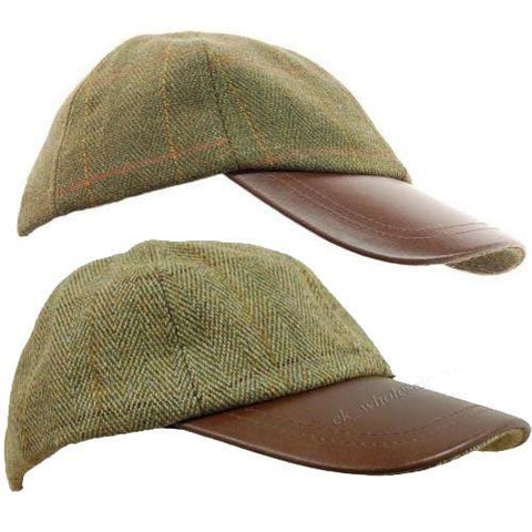 Tweed Leather Skip Hat