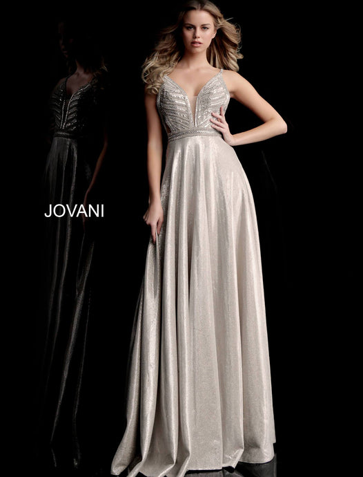 93d35493 Champagne Embellished Bodice Plunging Neck Prom Dress