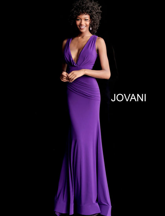 80a506e180 Purple Sleeveless Ruched Bodice Fitted Prom Dress