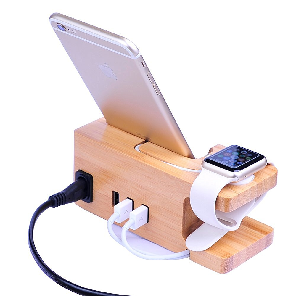 Wooden 3A Stand Holder Charger USB Port