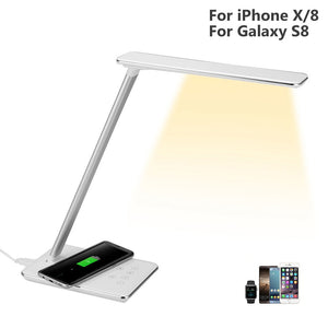 2-in-1 Wireless Charger with Led Table Lamp For iPhone X/8
