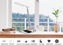Load image into Gallery viewer, New LED Desk Lamp - Folding 4 Light Color Temperature With Wireless Desktop Charger USB Output Bottom Foam