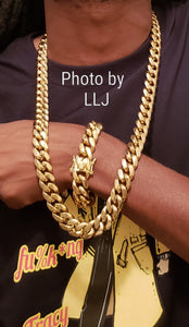 Big BoY 📷📹 16mm 14k High Quality Gold Plated Miami Cuban Link Chain And Bracelet