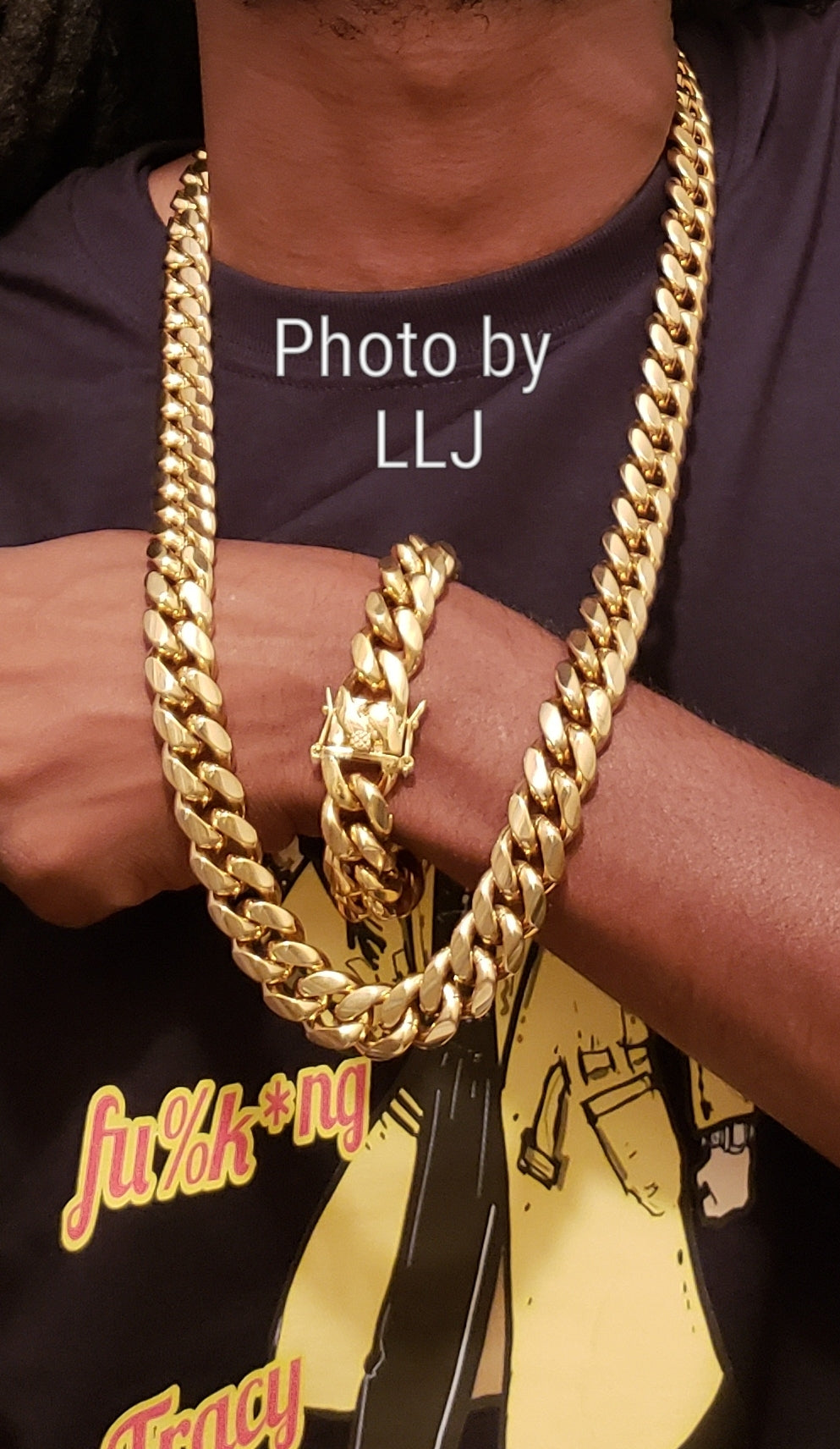 f38717469ad84 Big BoY 📷📹 16mm 14k High Quality Gold Plated Miami Cuban Link Chain And  Bracelet