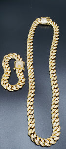14k 12mm Gold plated micro pave Lab diamond Cuban link two chain setup