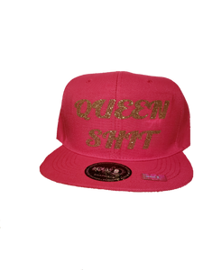 Queen shit snapback hat with gold glitter vinyl