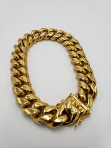 18k gold plated 14mm Miami Cuban link bracelet