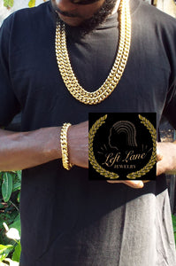 Miami Cuban link 14k gold plated Double down set