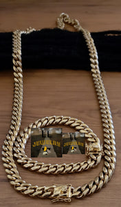 8mm 14k  gold plated Miami Cuban link set