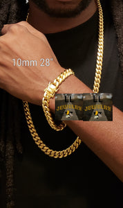 10mm 14k or 18k gold plated Miami Cuban link set chain and bracelet