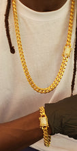 12mm 18k gold plated Miami Cuban link Set Chain and Bracelet with Micro pave box lock