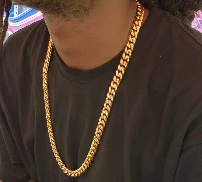 12mm 14k or 18k gold plated Miami Cuban link chain
