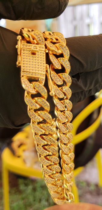 12mm gold plated micro pave Cuban link chain