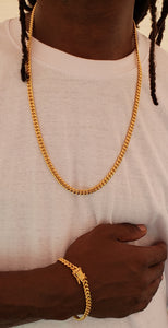 6mm 14k gold plated  Miami Cuban link chain and bracelet set