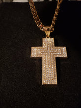 Nice 8mm 14k gold plated chain with iced out Cross Pendant