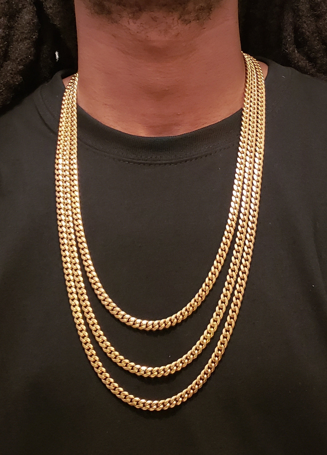3chain 6mm setup 14k gold plated Miami Cuban link chains