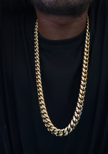 14mm 14k gold plated Miami Cuban link chain