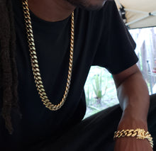 14mm 14k Gold Plated Miami Cuban Link Set