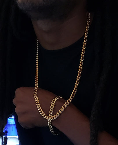 8mm 14k or 18k gold plated Miami Cuban link set