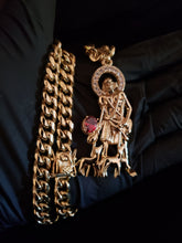 14k gold plated 8mm Cuban link chain and bracelet set with a nice st. Lazarus piece