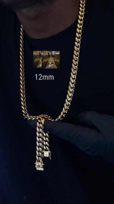 12mm 14k gold plated Miami Cuban link chain and bracelet set